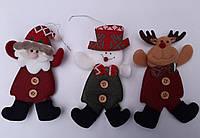 Новогодний магнит - Дед Мороз, Снеговик. Новогодний сувенир. Мягкая игрушка на елку. Новогодние магниты, фото 1