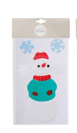 "Наклейка новогодняя для окон, 15.5х24 см, в асс. ""House of Seasons"", Снеговик, фото 2"