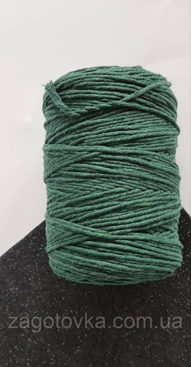 Шнур хлопковый Макраме 2мм Изумрудный