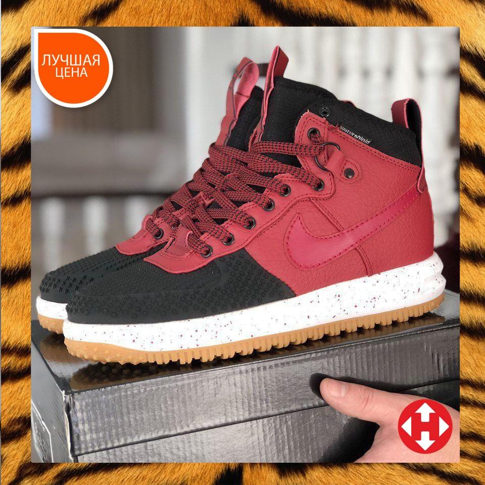 🔥 Ботинки мужские демисезонные Nike Lunar Force 1 Duckboot найк лунар форс красные кожаные кожа теплые термо
