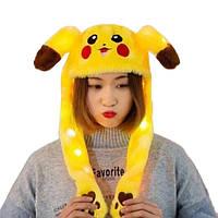 Светящаяся шапка с двигающими ушками Пикачу (Pikachu) ЖЕЛТАЯ