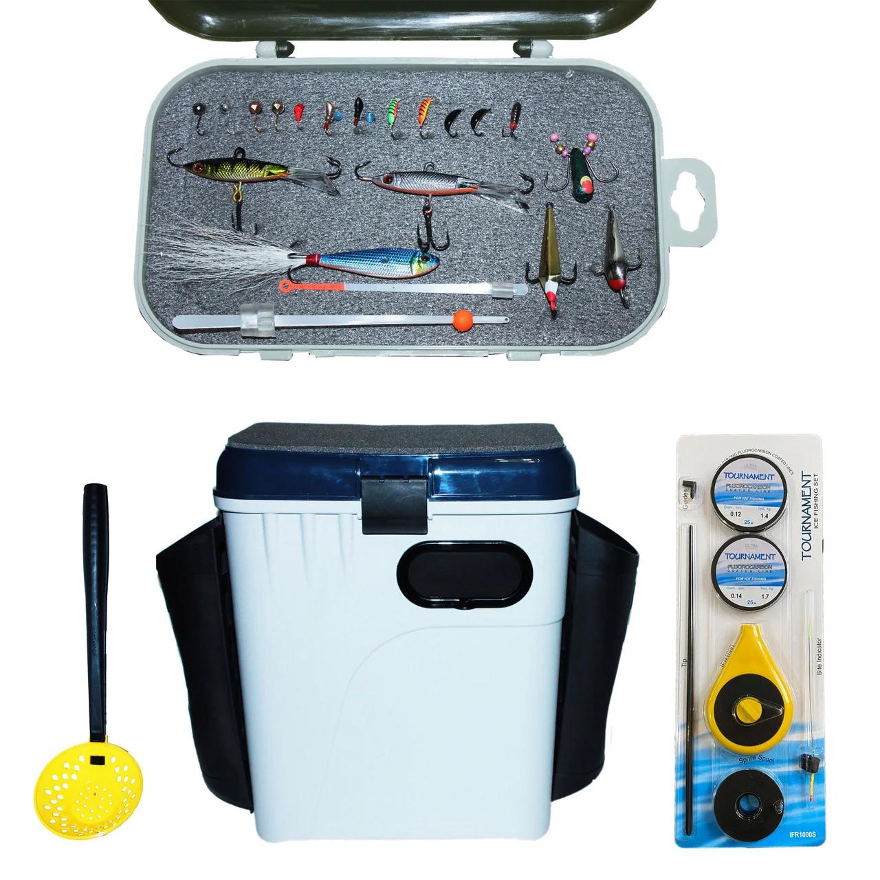 Набор для зимней рыбалки полный комплект ящик удочка мормышки