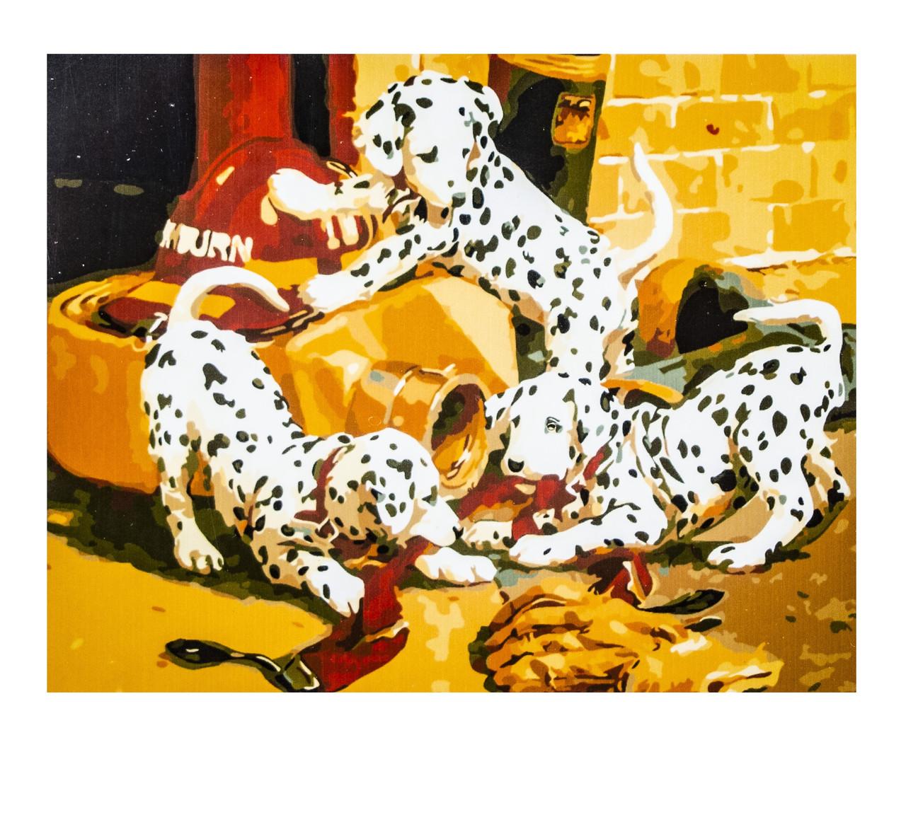 Картина по номерам Щенки, размер 40х50