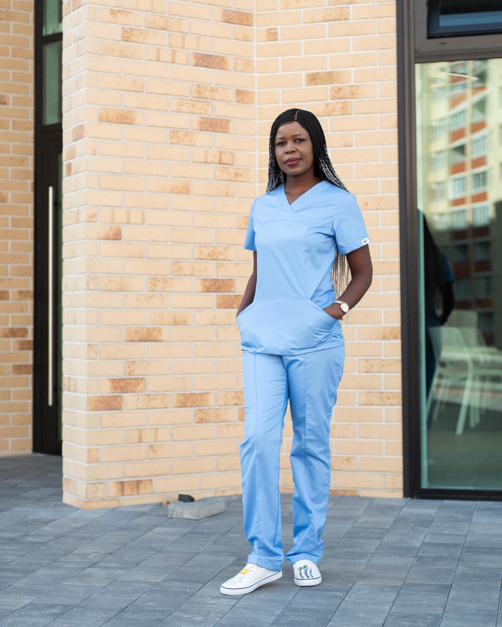 Медицинский костюм женский Топаз голубой