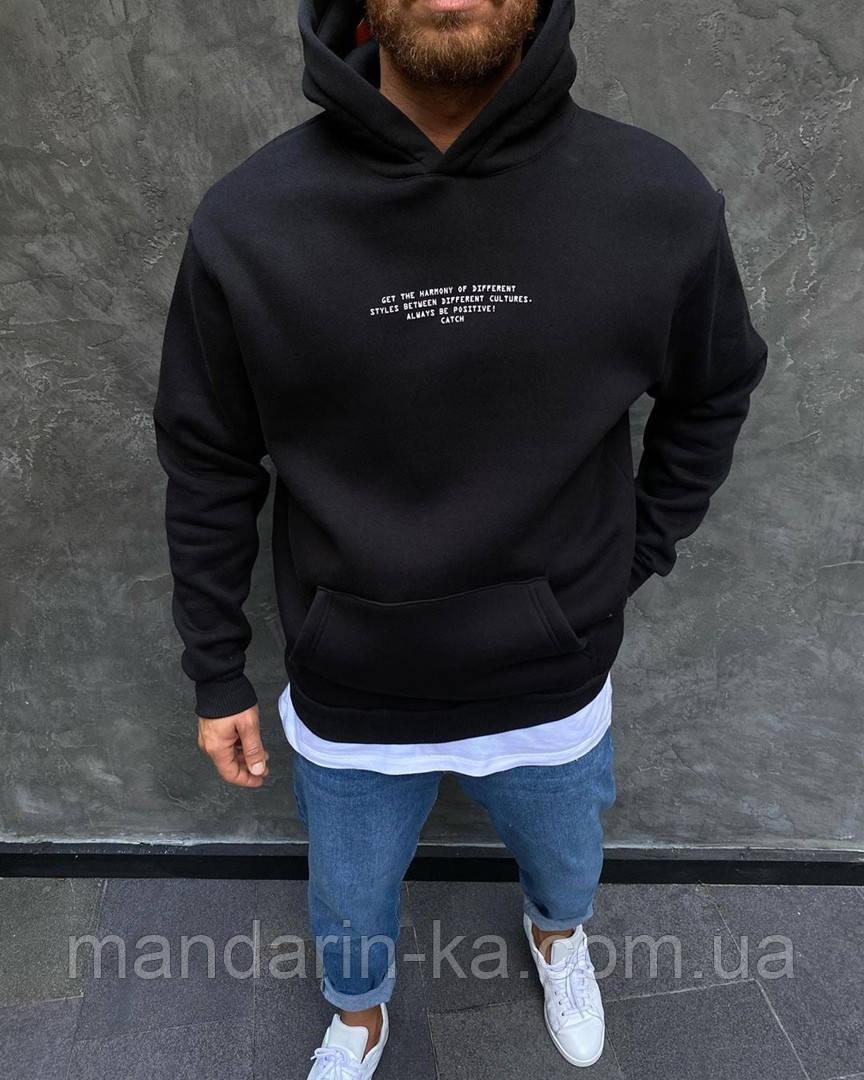Черное мужское худи с капюшоном