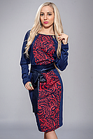 Красивое, яркое женское платье под поясок в размерах 48-52