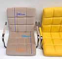 Роскошное бежевое бархатное кресло AUGUSTO - ARM BK-OFFICE на колесиках в черной раме, фото 5