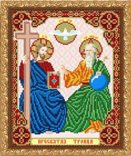 """Рисунок на ткани для вышивания бисером  """"Пресвятая Троица. Отец Сын и Святой Дух"""""""