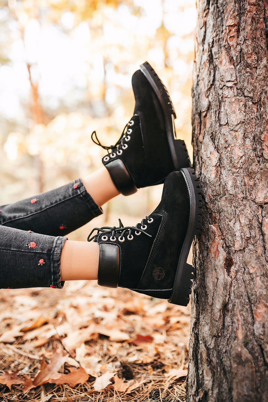 Женские зимние ботинки Timberland Black (мех)