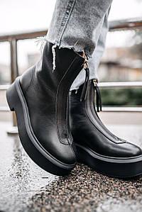 Женские зимние ботинки The Row Womens Black Zipped 1 (без меха)