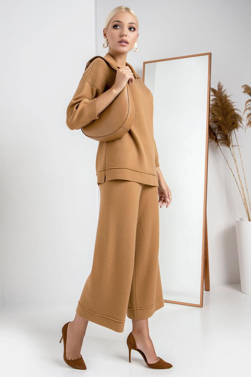 Крутые брюки-кюлоты нежно-оранжевого цвета, размер универсальный (42-46) (48-52)