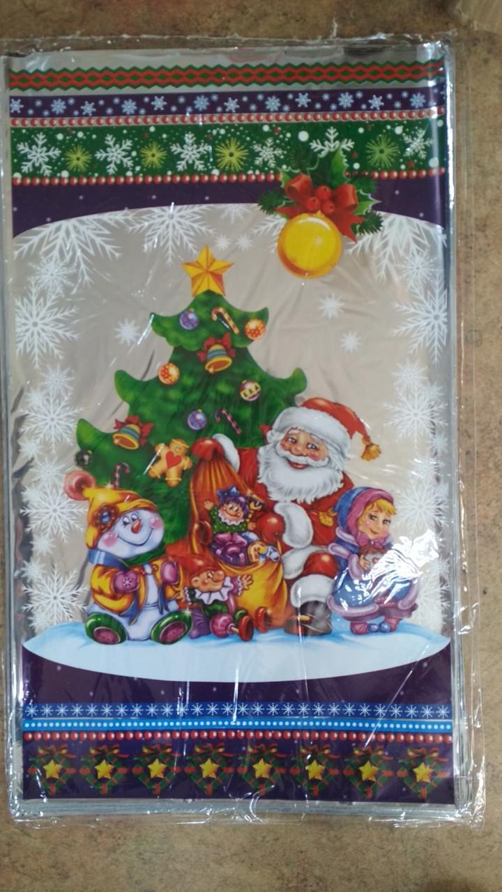 Новорічна подарункова фольгована упаковка 30*50 Дід Мороз, 10 шт
