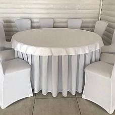 Фуршетна спідниця з липучкою 4,80/0,72 Біла для столу діаметром 150см Стандартної висоти, фото 3