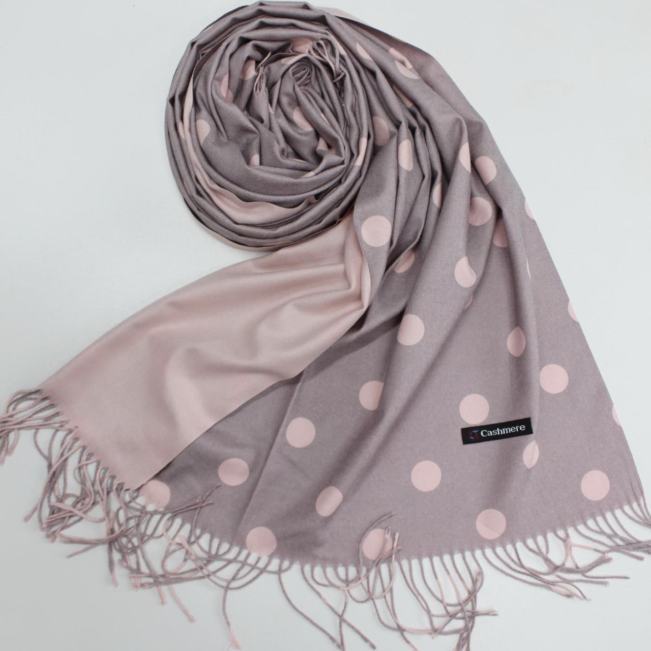 Кашемировый теплый шарф палантин в горошек Cashmere 137002