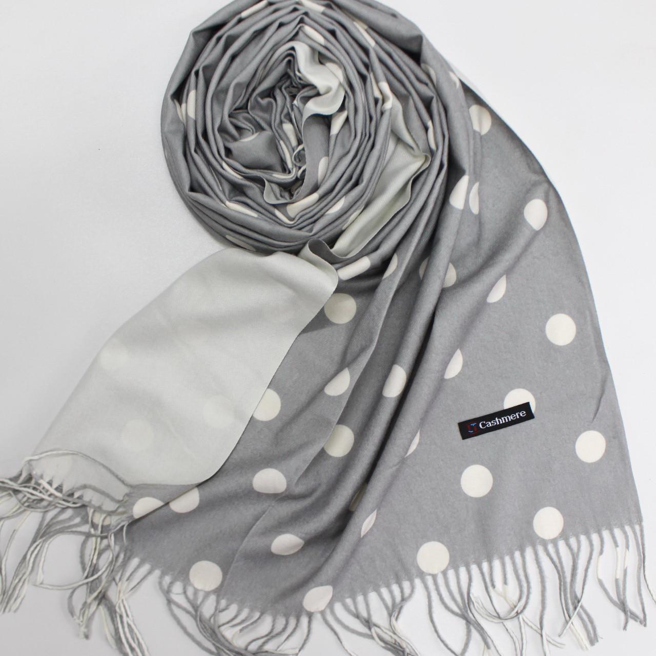 Кашемировый теплый шарф палантин в горошек Cashmere 137003