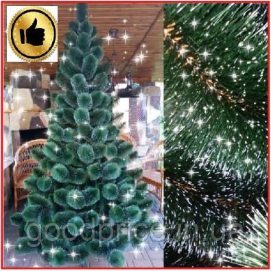 Сосна искусственная 2.2 м Микс Заснеженная зеленая, новогодняя заснеженная сосна жилка-ПВХ с подставкой
