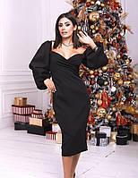 Вечернее черное платье-футляр миди с объёмными рукавами