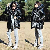 Женская теплая куртка с капюшоном из эко кожи