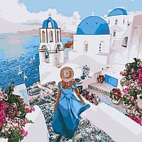 """Картина по номерам """"Незабываемый Санторини"""" 40*40 см, ТМ Идейка (КНО4729)"""
