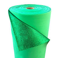 Фоамиран 2мм глиттерный, 1,0м темно зеленый 1923