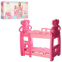 Кровать для девочек. Для кукол. Двухэтажная. Лестница. 2 простыни. 2 подушки. Розовая. Yale Baby. арт. 2000D
