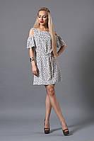 Свободное, легкое женское платье под поясок из ткани лен