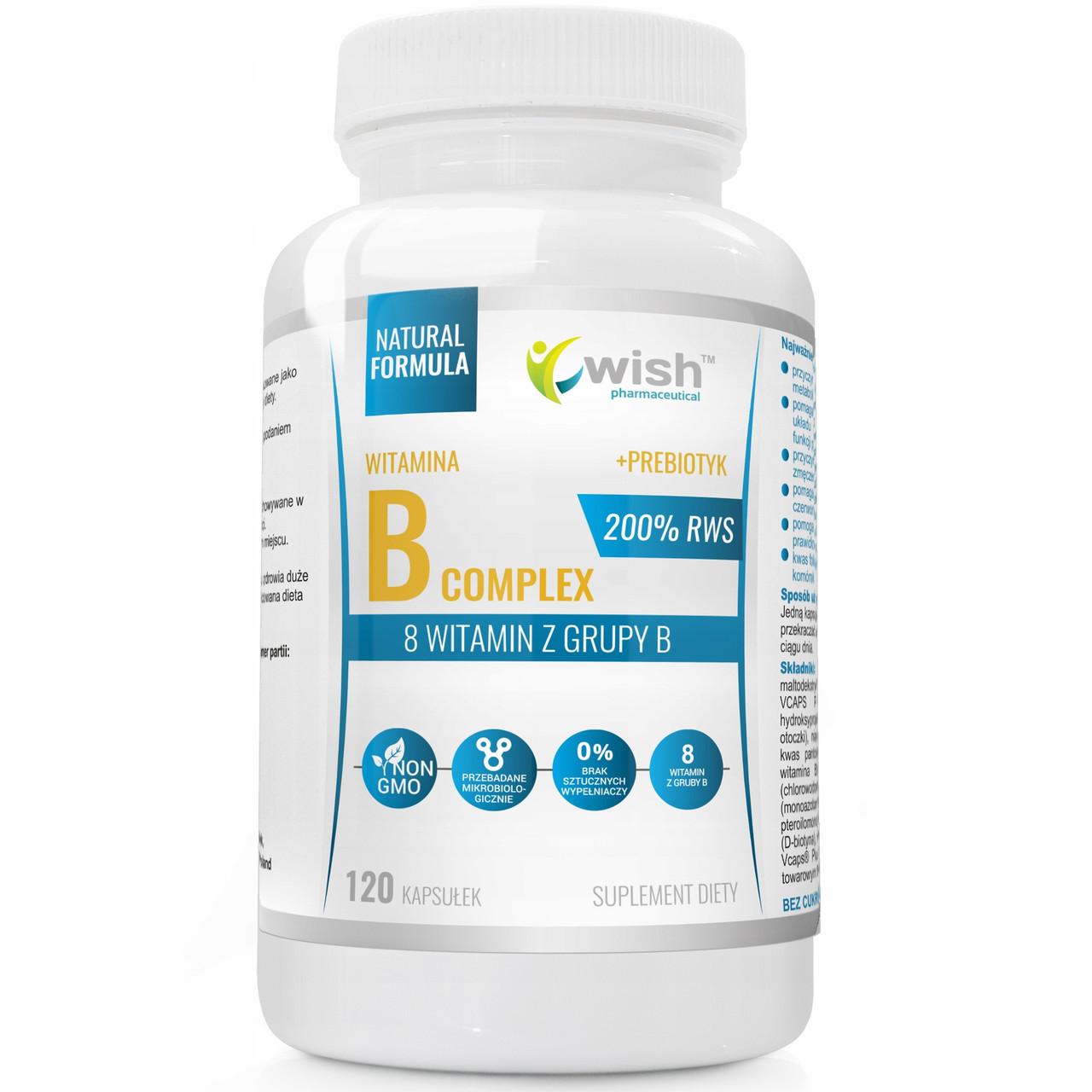 Комплекс витаминов B 200% RWS (B1, B2, B3, B5, B6, B7, B9, B12) + пребиотик 120 caps, Wish