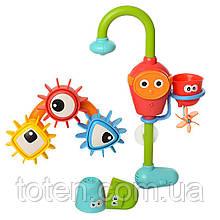 Волшебный кран для ванной с шестеренками, стаканчиками на батарейках. Игры с водой, детский, водопад 20006