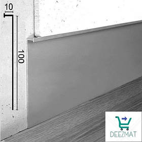 Алюминиевый плинтус встраиваемый в стену, 100х10х3000мм. Скрытый плинтус для стеновых  панелей.