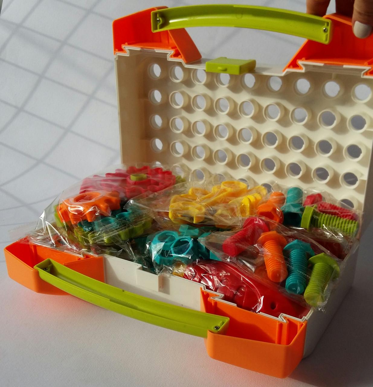 Мозаика детская Limo Toy на 215 деталей, 4 в 1, с насадкой шуруповёрт в чемодане М5482