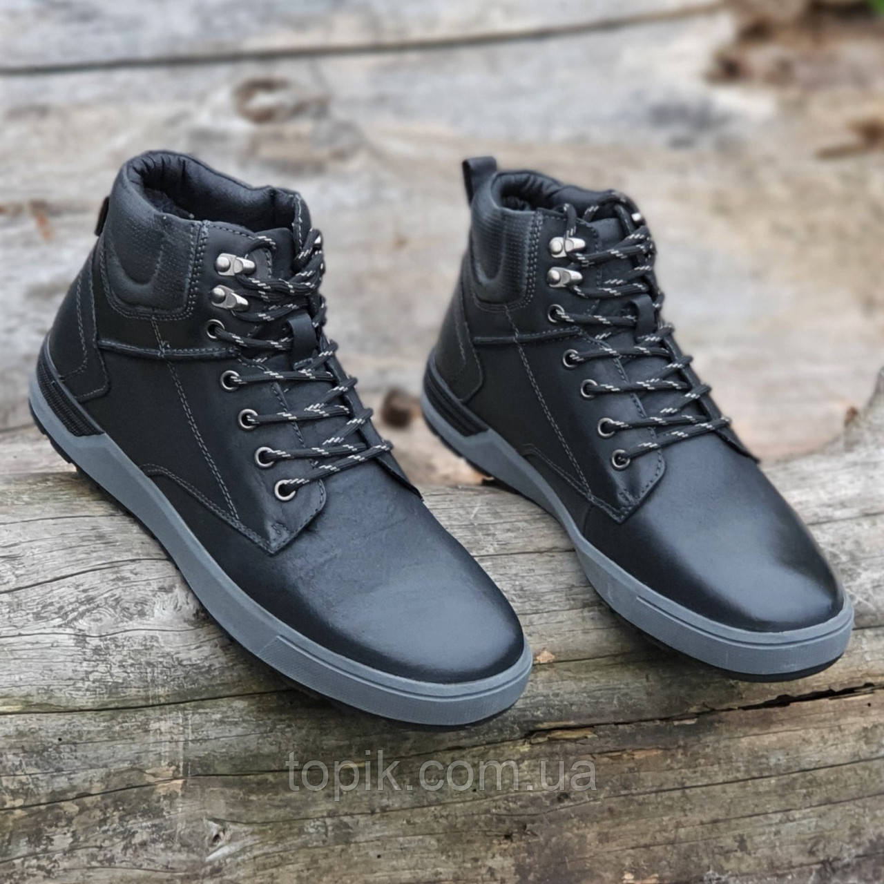 Ботинки мужские зимние кожаные молодежные черные на шнурках (Код: 1828a)