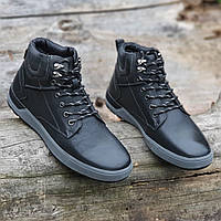 Ботинки мужские зимние кожаные молодежные черные на шнурках (Код: 1828a), фото 1