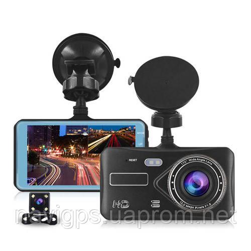 "Автомобильный видеорегистратор T672, LCD 4"", TOUCH SCREEN, 2 камеры, 1080P Full HD, металл. корпус"