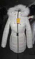 Женская зимняя куртка дутик длинная с поясом, размеры 42-62