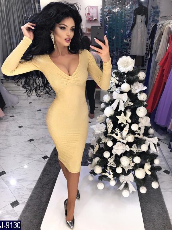 Женское платье, длина миди, длинный рукав V- образное декольте. Цвет: пудра, сирень, золото.