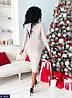 Женское платье, длина миди, длинный рукав V- образное декольте. Цвет: пудра, сирень, золото., фото 5