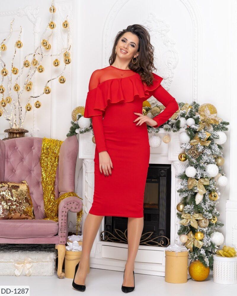 Женское коктейльное платье миди Асимметричное декольте С пышным воланом. Цвет: черный, красный.