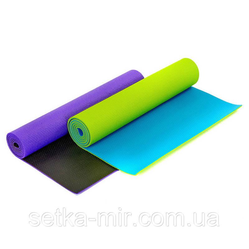 Коврик для фитнеса и йоги PVC 6мм двухслойный SP-Planeta FI-5558 (размер 173x61x0,6) цвета в ассортименте