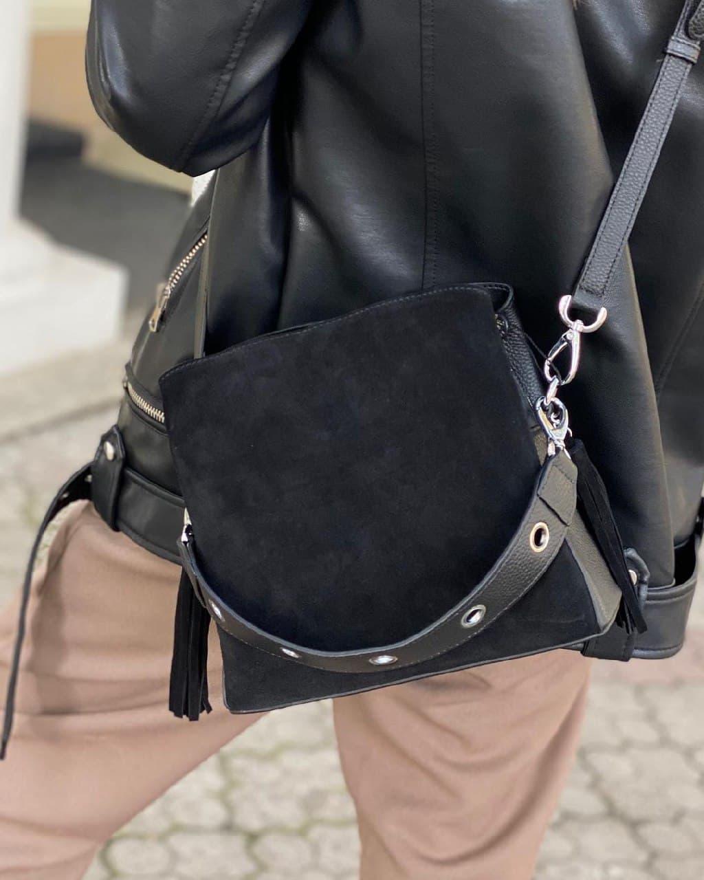 Женская замшевая сумка polina&eiterou в черном цвете