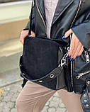 Женская замшевая сумка polina&eiterou в черном цвете, фото 3