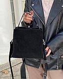 Женская замшевая сумка polina&eiterou в черном цвете, фото 2