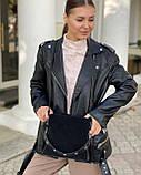 Женская замшевая сумка polina&eiterou в черном цвете, фото 5