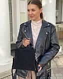 Женская замшевая сумка polina&eiterou в черном цвете, фото 4