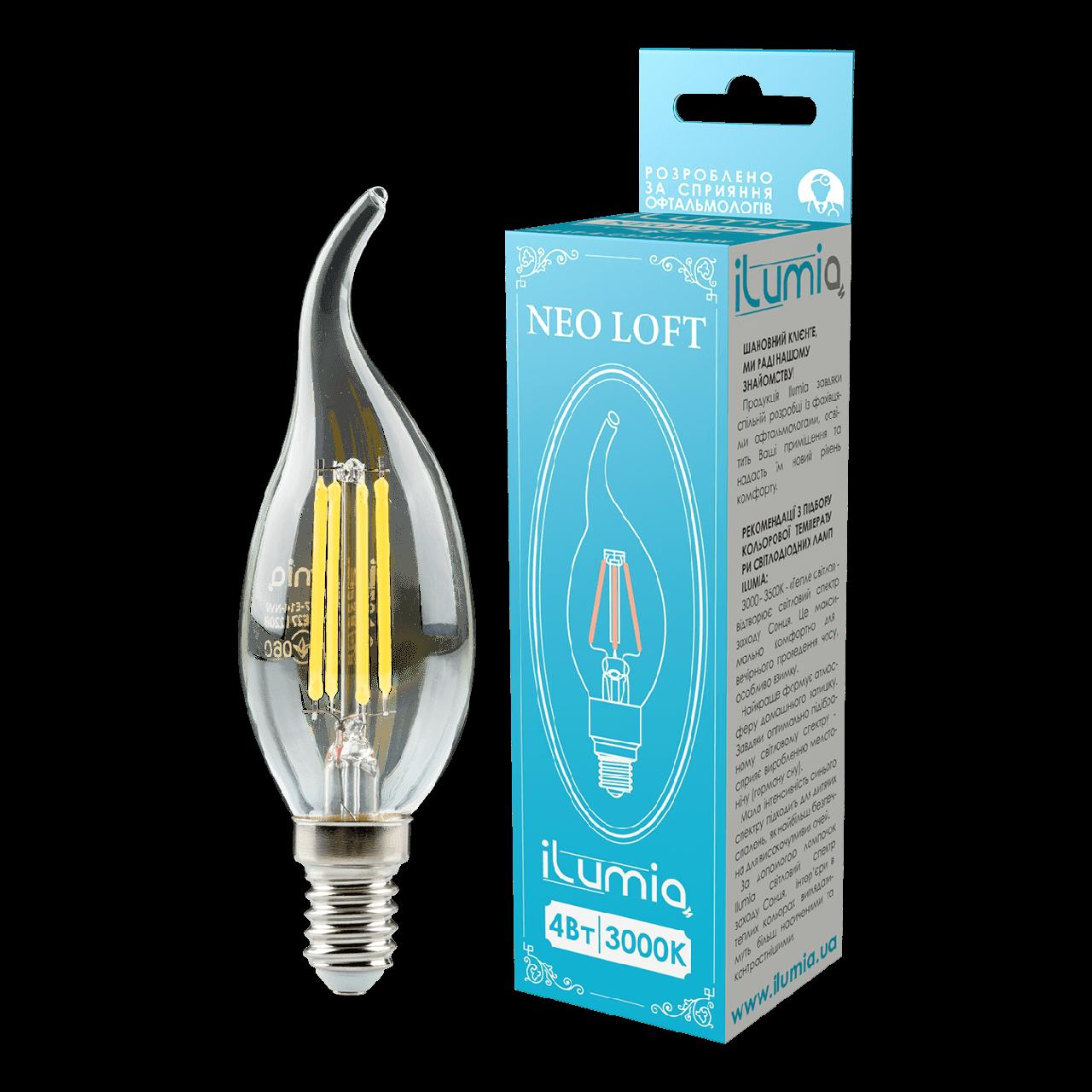 LED лампа филаментная Ilumia 4W Е14 C37 3000К теплый 400Lm (060)