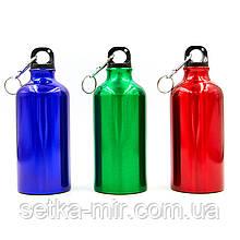 Бутылка для воды алюминиевая с карабином SP-Planeta 500 мл, цвета в ассортименте