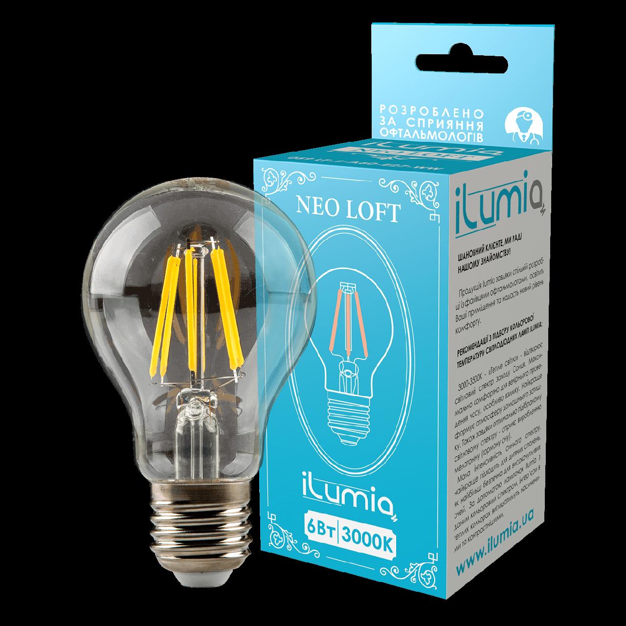 LED лампа филаментная Ilumia 6W Е27 A60 3000К теплый 600Lm (059)