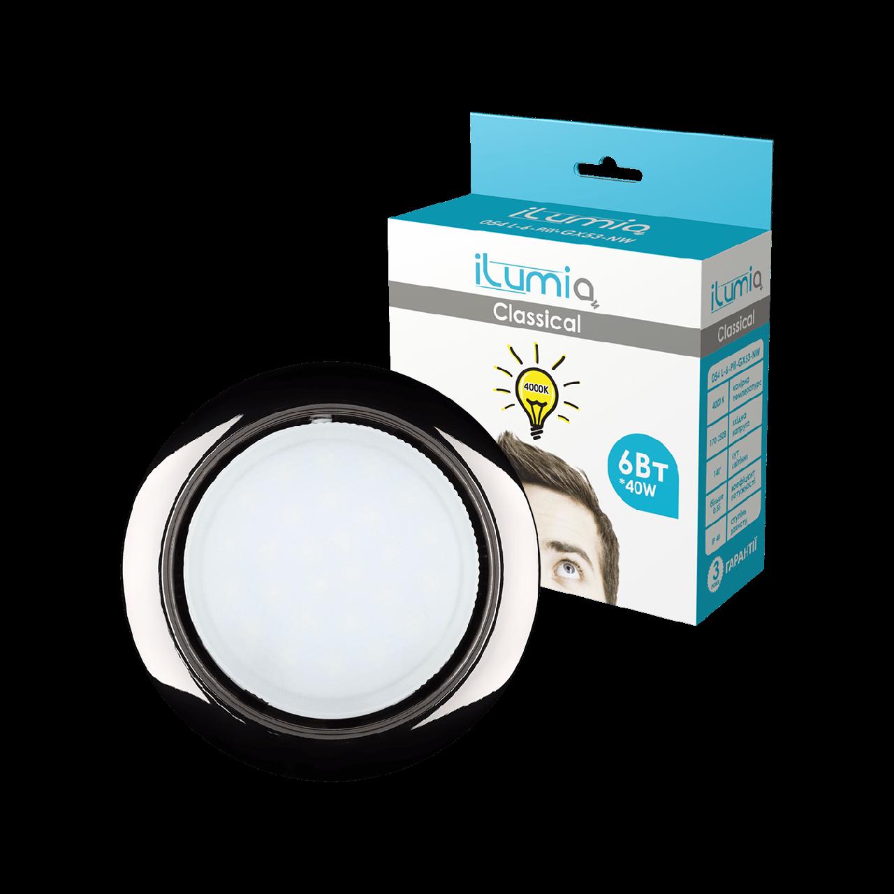 Светильник Ilumia с лампой 6W GX53 Черный 90mm круг врезной (050)