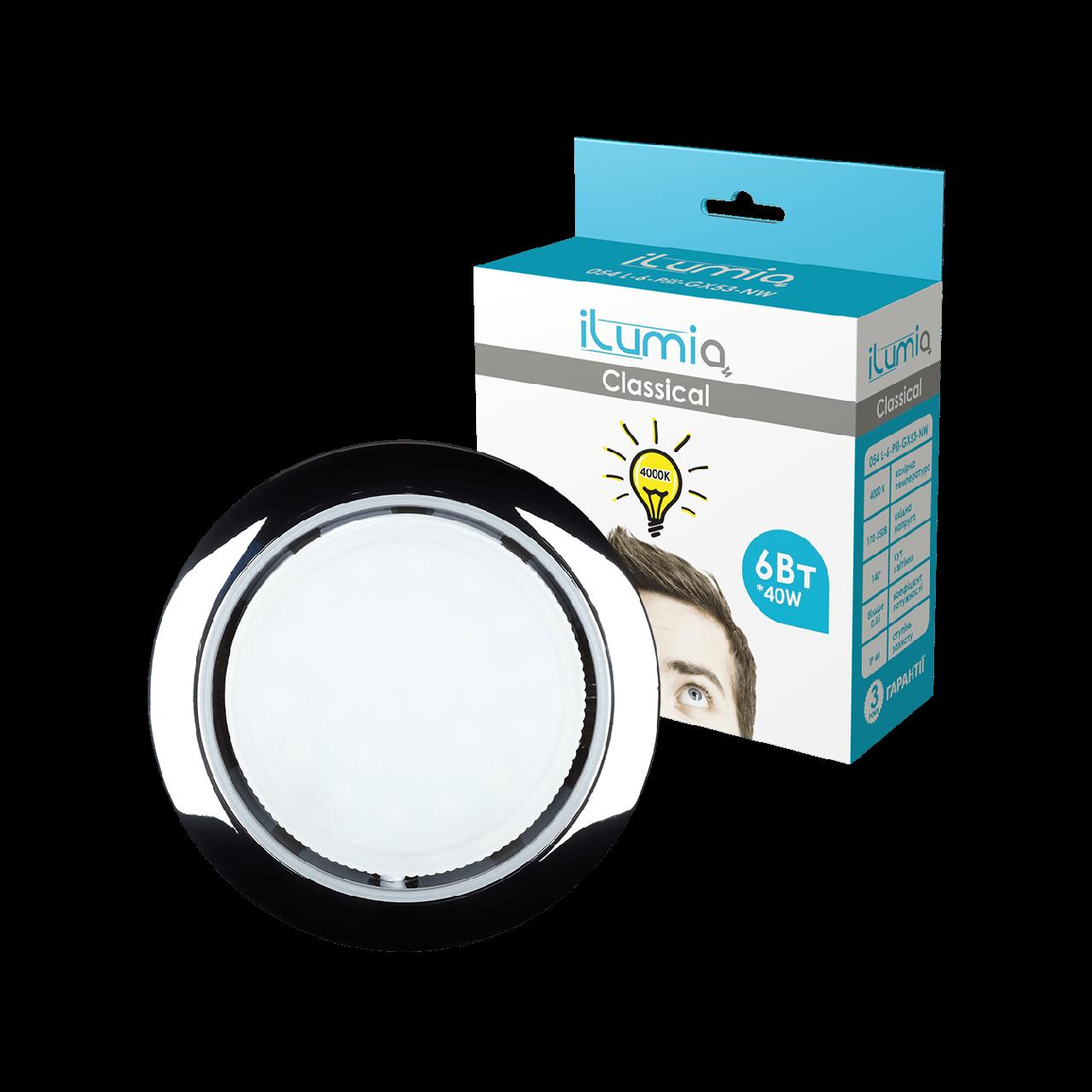 Светильник Ilumia с лампой 6W GX53 Хром 90mm круг врезной (051)