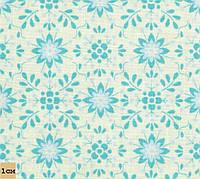 Цветочная плитка, голубой, № PM-5, хлопок 100%