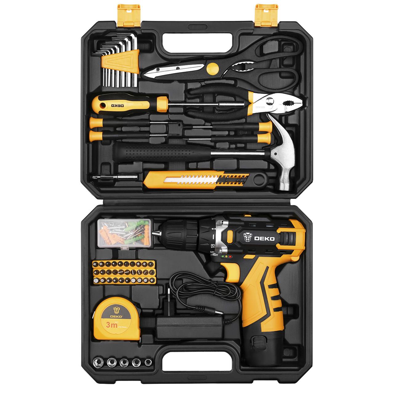 Аккумуляторный шуруповерт DEKO + набор 104 инструментов в кейсе